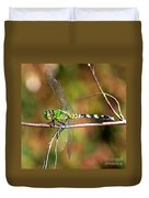Green Dragonfly On Twig Square Duvet Cover