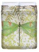 Green Dragonfly On Vintage Tin Duvet Cover