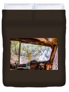 Green Drinking Glass And Smoky Bronken Windshield Duvet Cover