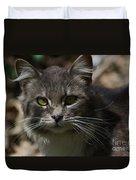 Green Eyed Kitty Cat Duvet Cover