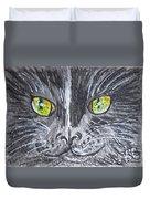 Green Eyes Black Cat Duvet Cover
