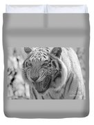 Green Eyes In Black And White Tiger Duvet Cover