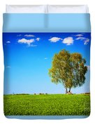 Green Field Landscape With A Single Tree Duvet Cover