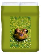 Green Frog Hiding Duvet Cover