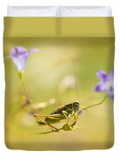 Green Grasshopper On Violet Bell Flowers Duvet Cover
