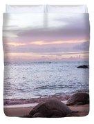 Green Hawaiian Sea Turtles At Sunset - Oahu Hawaii Duvet Cover by Brian Harig