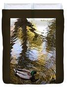 Green Head Mallard Duck Duvet Cover