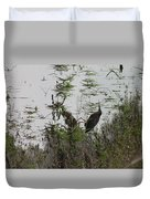 Green Heron At The Pond Duvet Cover