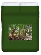 Green Heron Fishing Duvet Cover by Kathleen Bishop
