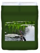 Green Heron Perch Duvet Cover
