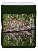 Green Heron Reflections Squared Duvet Cover