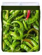 Green Hot Peppers Duvet Cover