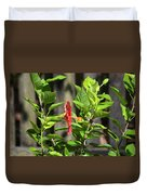 Green Hummingbird On Red Hibiscus Flower 2 Of 10 Duvet Cover