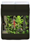 Green Hummingbird On Red Hibiscus Flower 5 Of 10 Duvet Cover