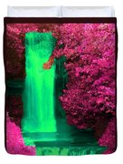 Green Irish Waterfall Surrounded By Pink Duvet Cover