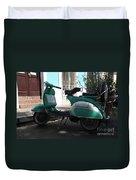 Green Vespa Duvet Cover