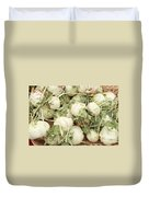 Green Kohlrabi Basket Display Duvet Cover