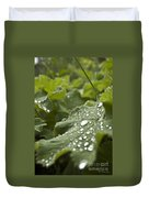Green Leaf And  Fresh Water Pearl Duvet Cover