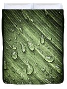 Green Leaf Background With Raindrops Duvet Cover