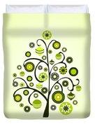 Green Ornaments Duvet Cover