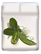 Green Peas In Pod With White Flower Duvet Cover