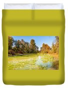 Green Pond And Tree Duvet Cover