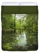 Green Blossoms On Pond Duvet Cover