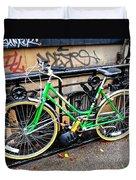 Green Schwinn Bike  Nyc Duvet Cover