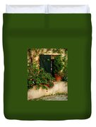 Green Shuttered Window Duvet Cover by Lainie Wrightson