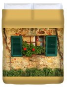 Green Shutters And Window In Chianti Duvet Cover