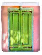 Green Shutters Pink Stucco Wall 2 Duvet Cover