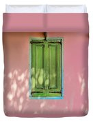 Green Shutters Pink Stucco Wall Duvet Cover