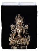 Green Tara Buddhist Goddess Statue Duvet Cover