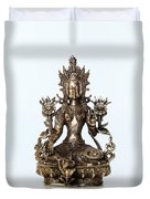 Green Tara Goddess Statue Duvet Cover