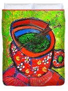 Green Tea In Red Cup Duvet Cover