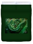 Green Tree Python Curled Duvet Cover