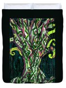 Green Tree With Pink Watercolor Duvet Cover