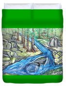 Green Trees With Rocks And River Duvet Cover