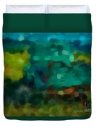Green Truck In Abstract Duvet Cover