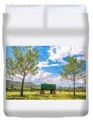 Green Wagon And Vineyard Duvet Cover