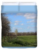 Green Wheat Field With Blue Sky Duvet Cover
