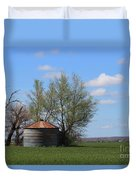 Green Wheatfield With An Old Grain Bin Duvet Cover