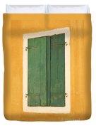 Green Window Shutters Duvet Cover