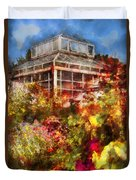 Greenhouse - The Greenhouse And The Garden Duvet Cover by Mike Savad