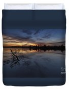 Greenlake Sunset With A Fallen Tree Duvet Cover