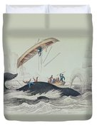 Greenland Whale Book Illustration Engraved By William Home Lizars  Duvet Cover