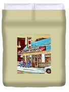 Greenspot Restaurant Notre Dame Street  South West Montreal Paintings Winter Hockey Scenes St. Henri Duvet Cover