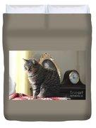 Greeting Card Cat Duvet Cover