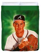 Greg Maddux Duvet Cover by Dick Bobnick