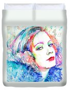 Greta Garbo - Colored Pens Portrait Duvet Cover